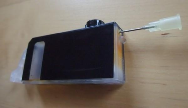 Canon Tintenpatrone nachfüllen kanüle einführen