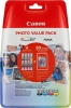 Original Canon CLI-521 Photo Value Pack Tintenpatrone MultiPack C,M,Y + Fotopapier 10x15cm 50 Blatt (ca. 446 Seiten)